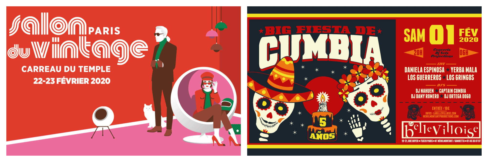 Left, poster for vintage event in Paris. Right, poster for a Mexican fiesta in Paris this February.