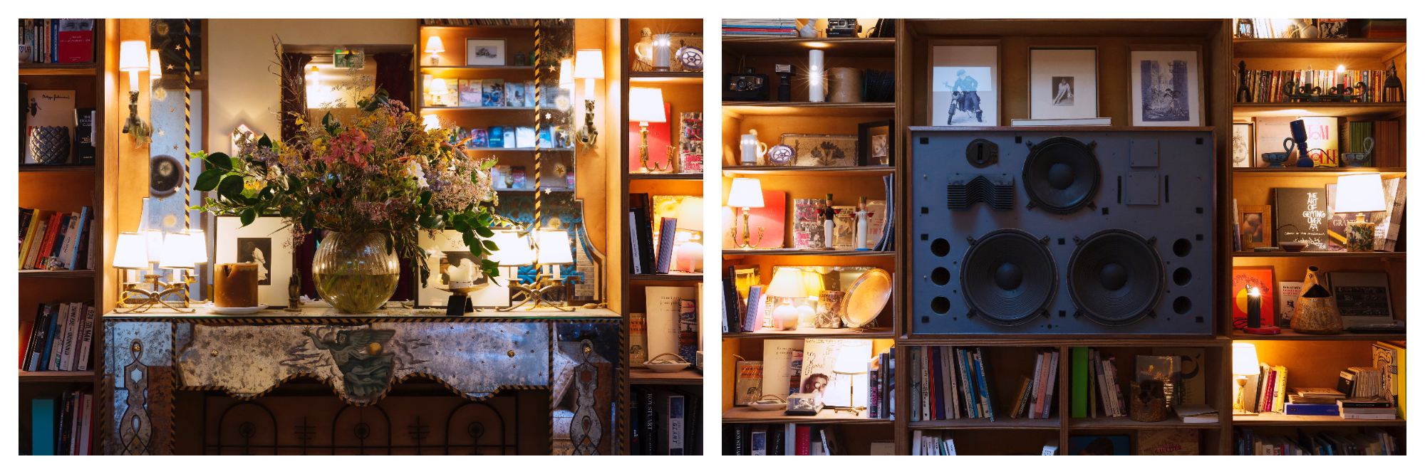On left: An abundant bouquet of flowers sits on the fireplace mantle of Hôtel Grand Amour, an hotel and restaurant located in Paris' ninth arrondissement. On right: The bohemian spirit shines in Hôtel Grand Amour, bookshelves crammed with books and photographs.