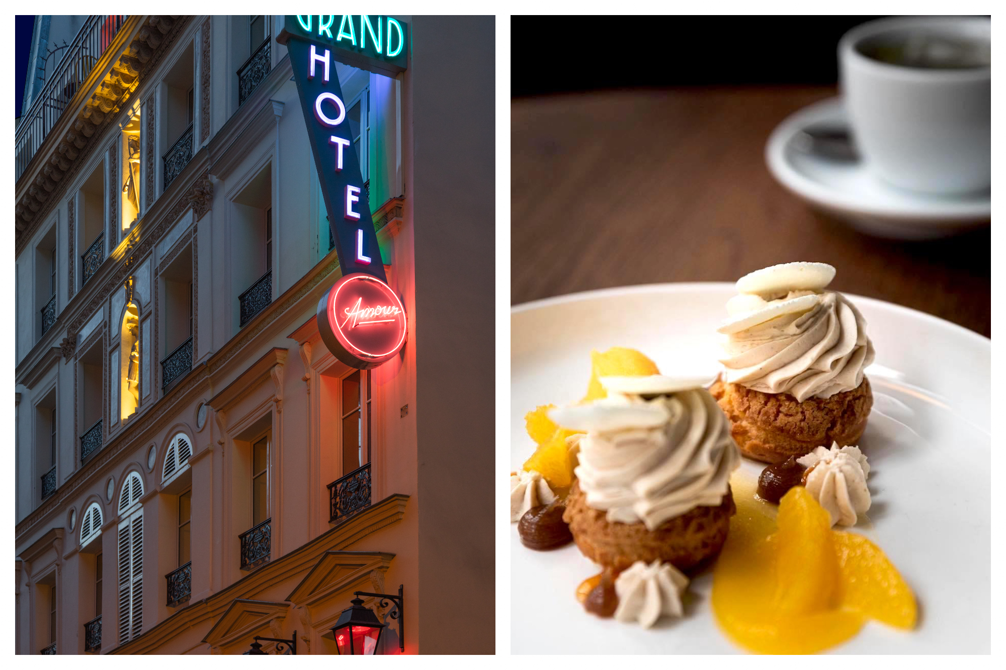On left: The glow of the teal, purple, and red neon sign of the Hôtel Grand Amour in Paris' 10th arrondissement invites passer-by to step inside for a taste of bohemian spirit. On right: Elegantly-plated pâte à chou wear delicate swirls of chestnut cream, surrounded by vibrant orange slices.