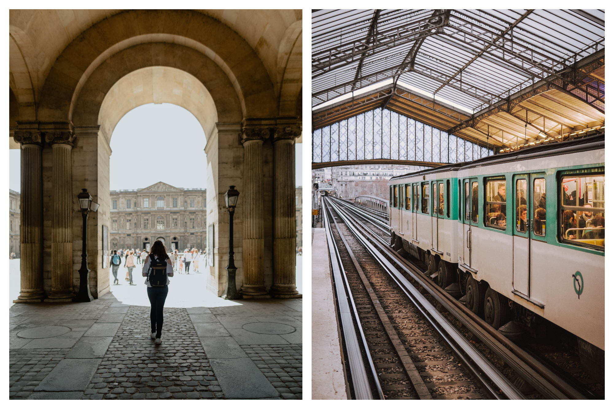 On left: A girl walks into the light-flooded back courtyard of the Louvre, framed by the majestic archway and classic Paris street lamps. On right: Metro line six passes through a station. In tram mode, it rides above ground on a bridge, giving riders a beautiful view of Paris.
