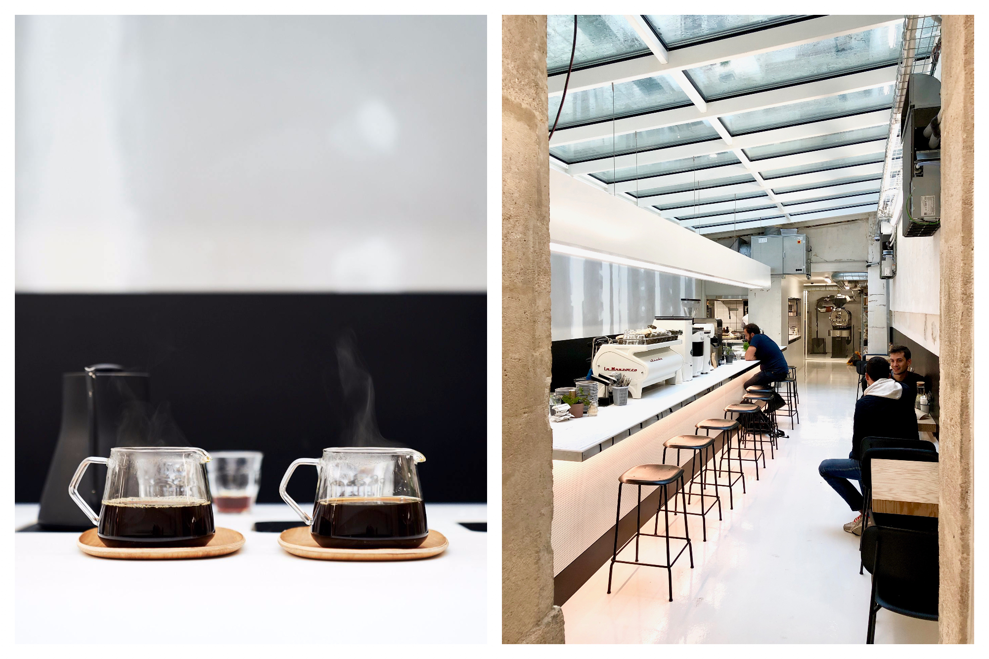 Two pots of glass steaming coffee pots (left) and zen interiors with glass roof (right) at Paris café Back in Black.