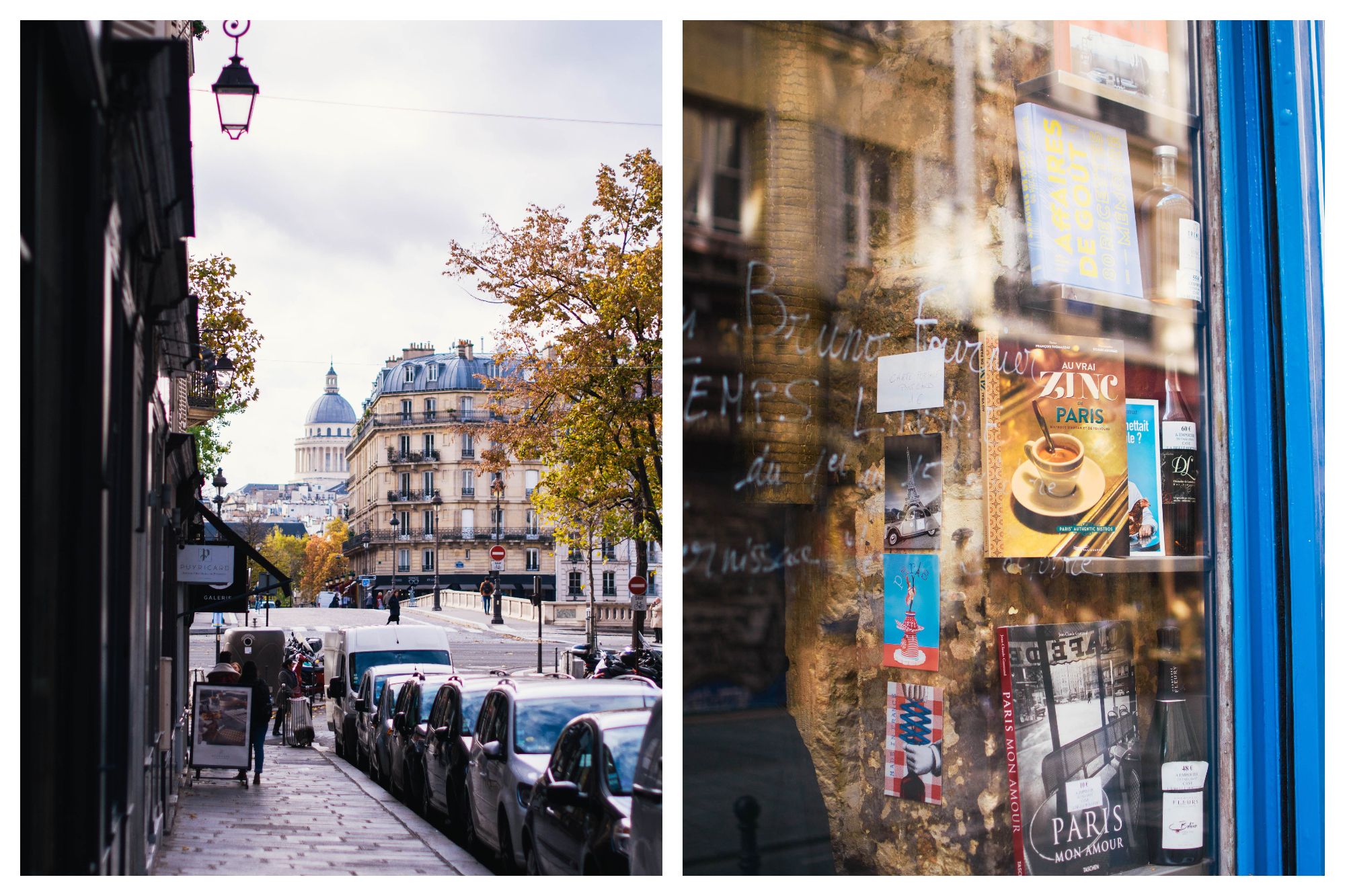 On left: an empty street on Île Saint Louis leads to a view of the Pantheon dome in Paris' Latin Quarter. On right: Books about Paris line a beautiful blue-trimmed store window.