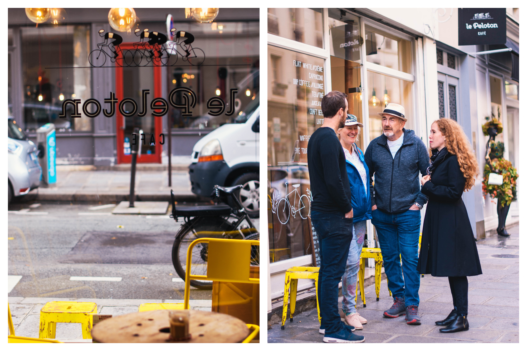 On left: Yellow stools wait on the sidewalk for the café goers of Le Peloton, a popular spot in Le Marais. on right: Jane Bertch, founder of La Cuisine Paris cooking school, chats with three friends in front of her favorite café, the cheery, yellow Le Peloton.