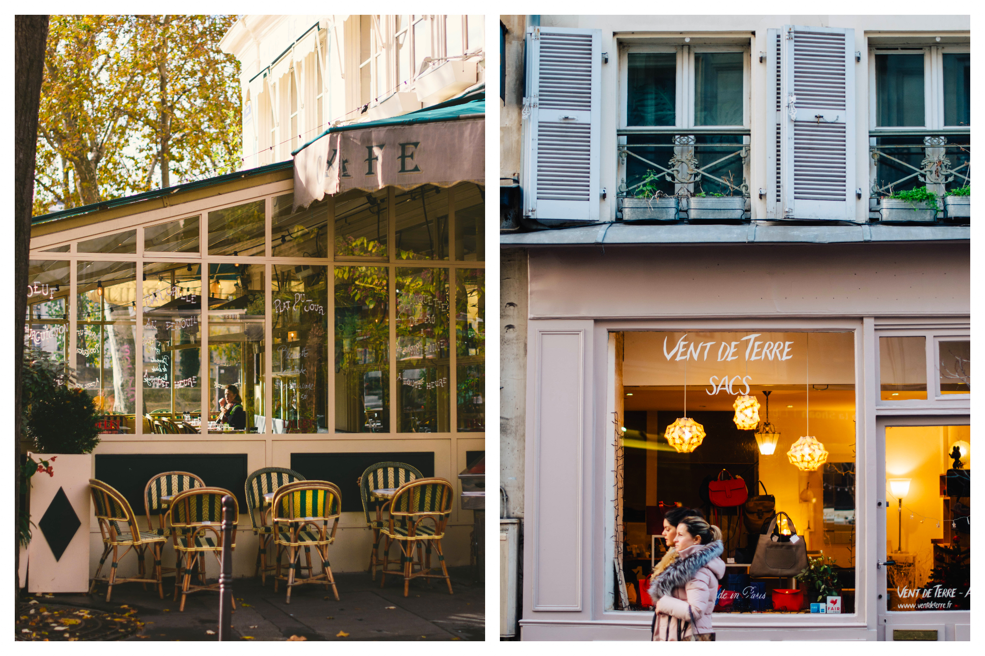 On left: Empty chairs on a café terrace await diners for an apéritif in Paris. On right: Vent de Terre, on Île Saint Louis in Paris, sells handbags designed in France.