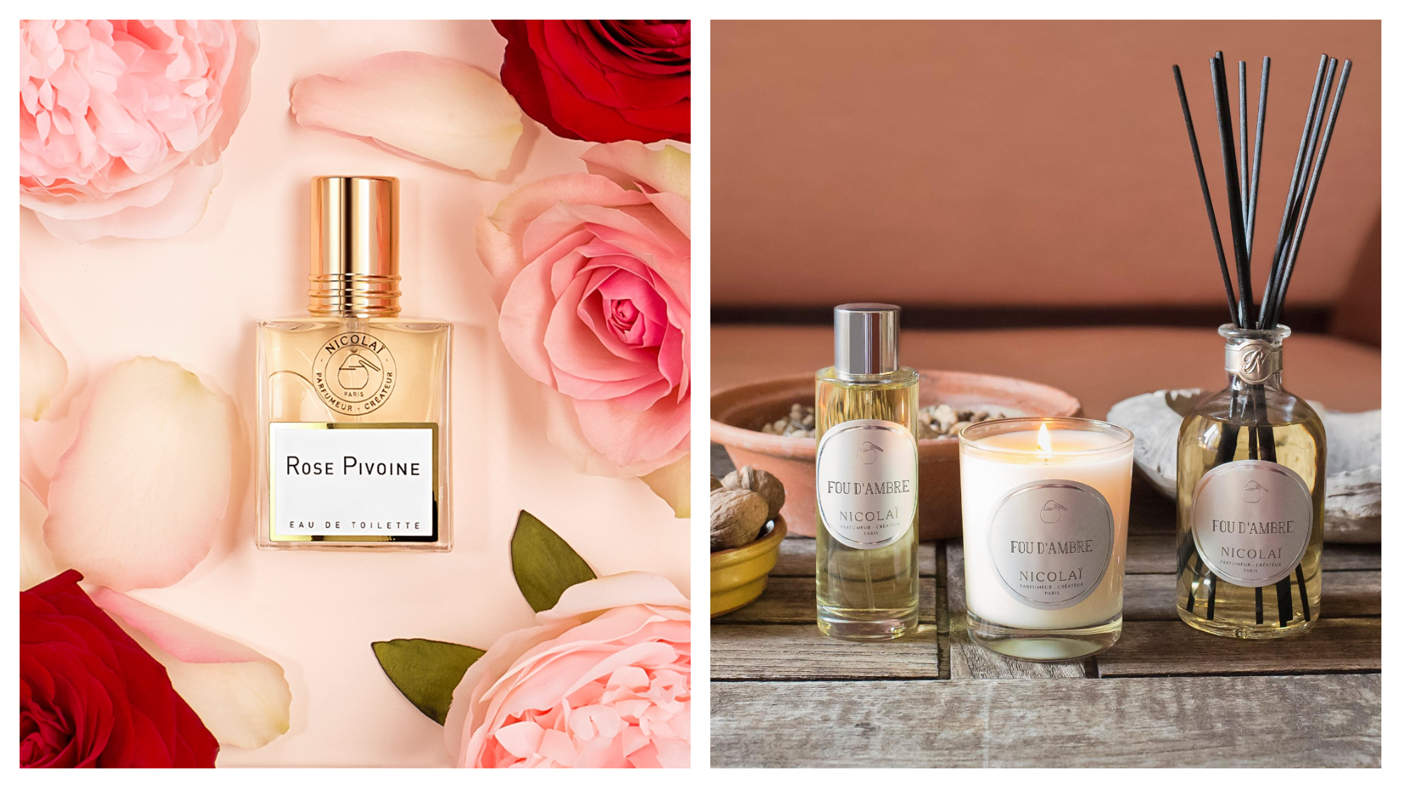 "On left: An elegant bottle of perfume, called ""rose pivoine,"" lays surrounded by pink peonies and roses. It is a scent created by Nicolaï, a 30-year old perfumery founded by the great-granddaughter of Pierre Guerlain. On right: A trio of perfume, a candle, and a diffuser in the scent ""Fou d'Ambre"" were created by the perfumery Nicolaï, whose laboratory is located on the rue de Richelieu in Paris."