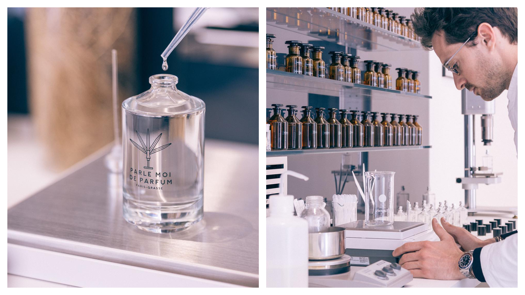 On left: A single drop of perfume falls daintily from a pipet at the laboratory of Paris-based fragrance company Parle-Moi de Parfum. On right: A perfumer works in the laboratory of Paris-based fragrance company Parle-Moi de Parfum, founded by Michel Almairac, who designed perfume for the likes of Dior and Gucci.