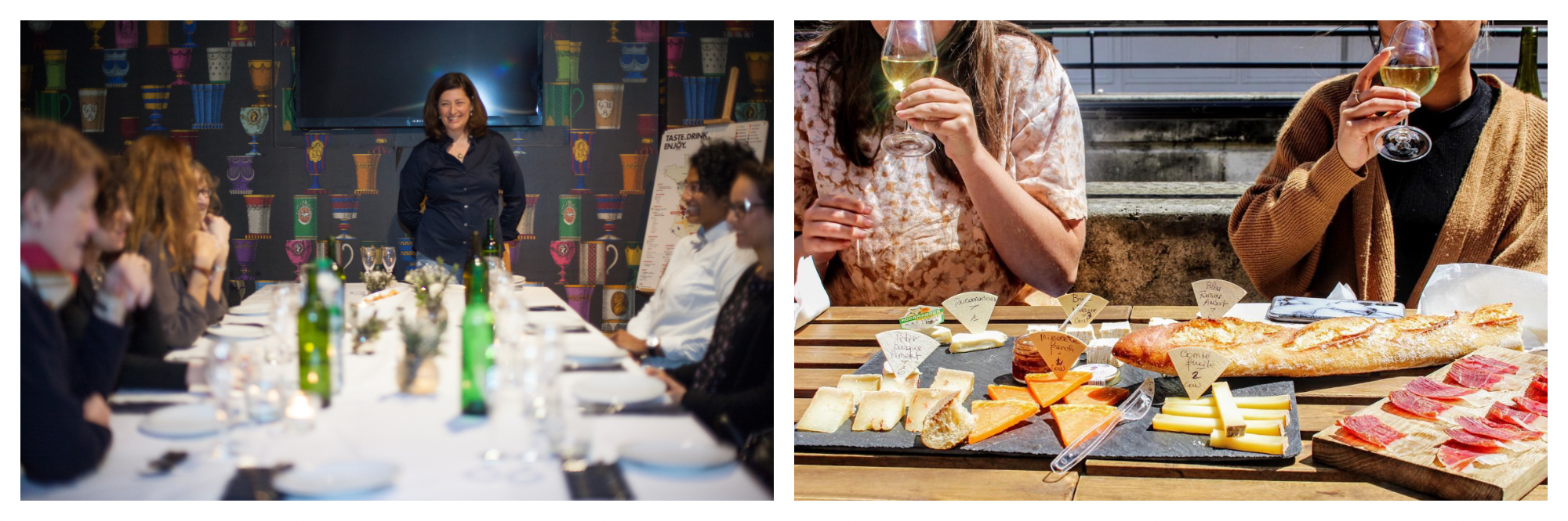 On left: Cynthia Coutu of Delectabulles, her champagne master class company, hosts a workshop dinner for an intimate group of attendees. On right: Two guests enjoy glasses of wine and cheese and charcuterie boards at a tasting tour with Flavors of Paris, founded by Lisa Rankin.