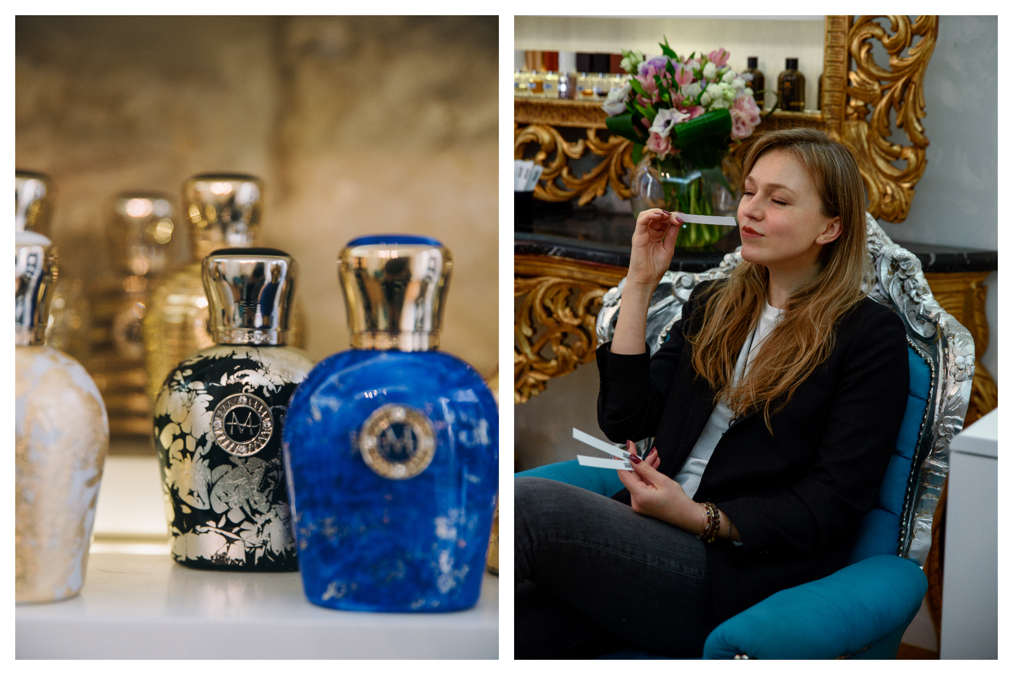 On left: Beautifully decorated jars of perfume sit on a counter, waiting to be tested at Sensory Unique, a shop specializing in stocking exclusive, niche perfumes in Paris. On right: A woman closes her eyes, concentrating on the smell of the perfume she samples at Sens Unique, a boutique specializing in niche perfume and finding your perfect scent.