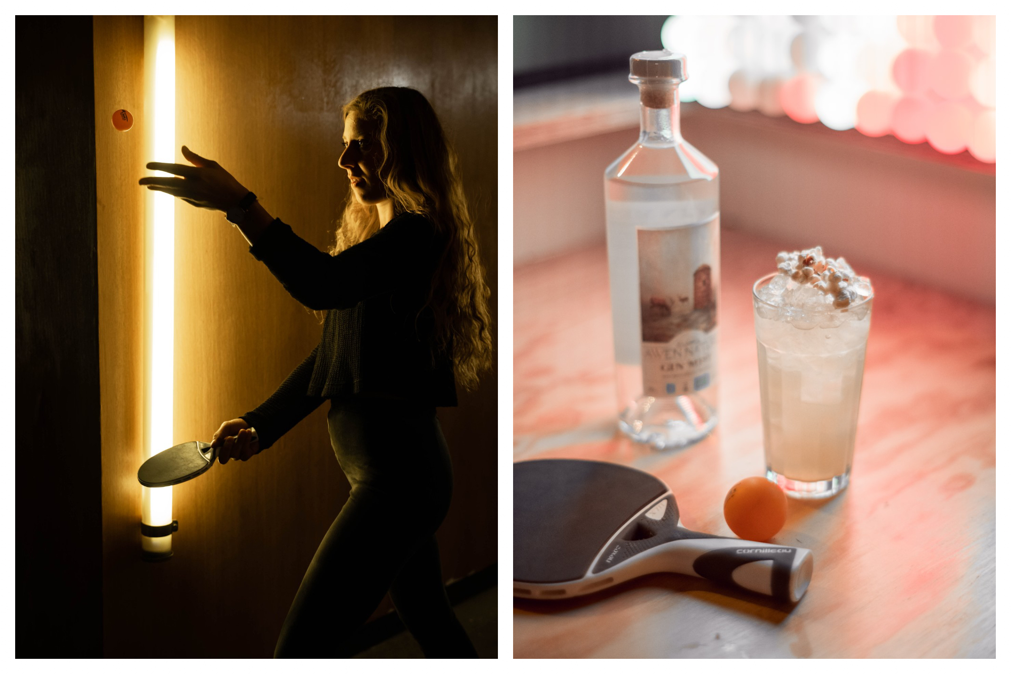 On left: A ping-pong player readies her serve in the dim light of Gossima Ping Pong Bar. On right: Gossima Ping Pong Bar, in Paris' 11th arrondissement, serves up shareable bar food and drinks that you can enjoy in between sets.