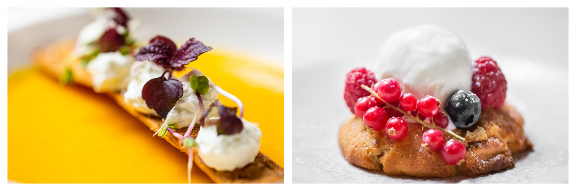 On left: A delicate biscuit sits in a pool of golden fruit coulis, dotted with cream and fresh herbs. On right: A fresh cookie is adorned with a generous scoop of vanilla ice cream and encircled by a crown of fresh, vibrant raspberries, blueberries, and currents.