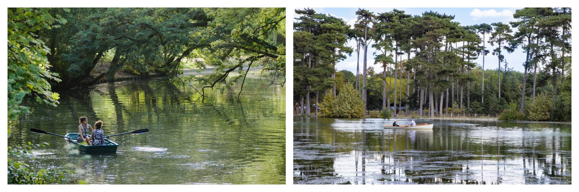 On left: Two friends enjoy a sunny afternoon at Lac Dausmenil in the Bois de Vincennes right outside of Paris, where rowboats are for rent. On right: A couple paddles a rowboat on the lake in the Bois de Boulogne, in west Paris, amidst tall trees on a sunny day.