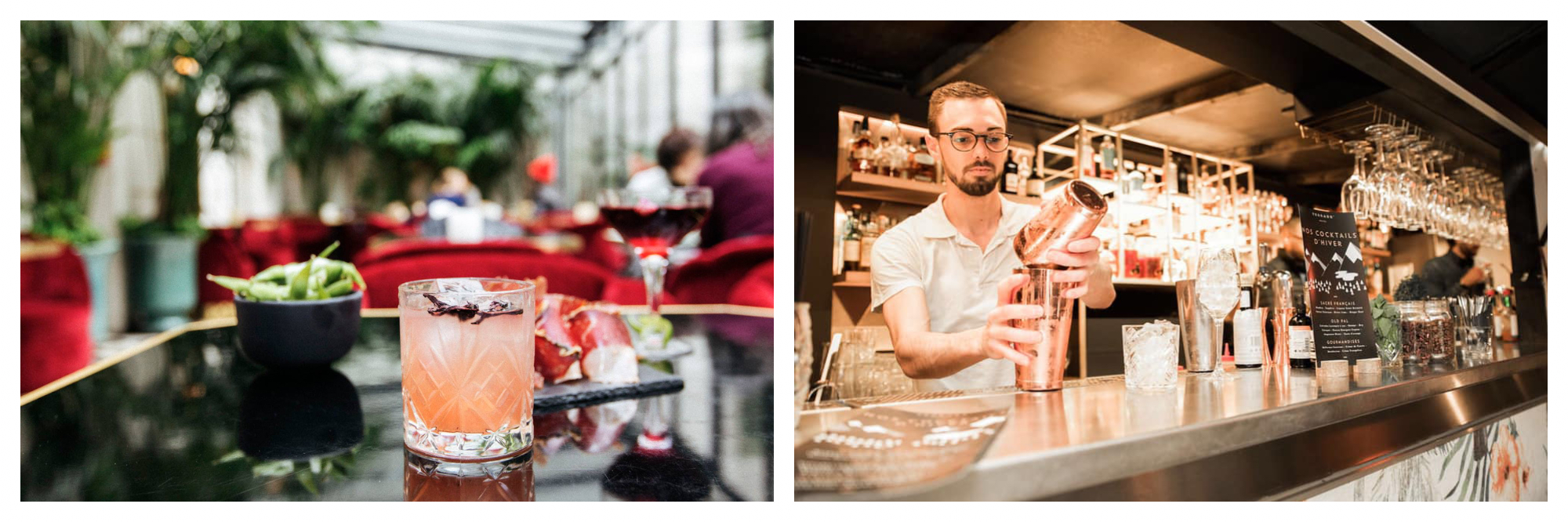 On left: A peachy floral cocktail sits in a sparkling glass at Le Très Particulier, the bar of Hôtel Particulier in Montmartre. On right: A bartender shakes up cocktails under the orange glow of the lights at the Terrass Hotel, a rooftop bar in Paris' 18th arrondissement.
