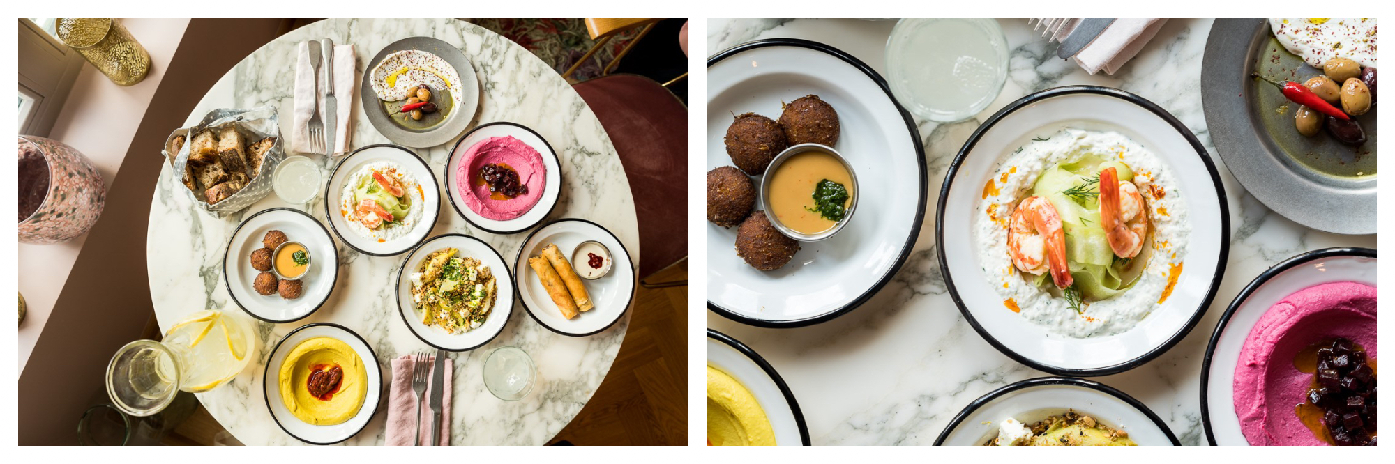 On left: A marbled table is filled with dishes from Neni, an Israeli eatery located in Gare du Nord. On right: Dishes from Neni, an Israeli restaurant in Paris' Gare du Nord, feature beet hummus and crispy falafel.