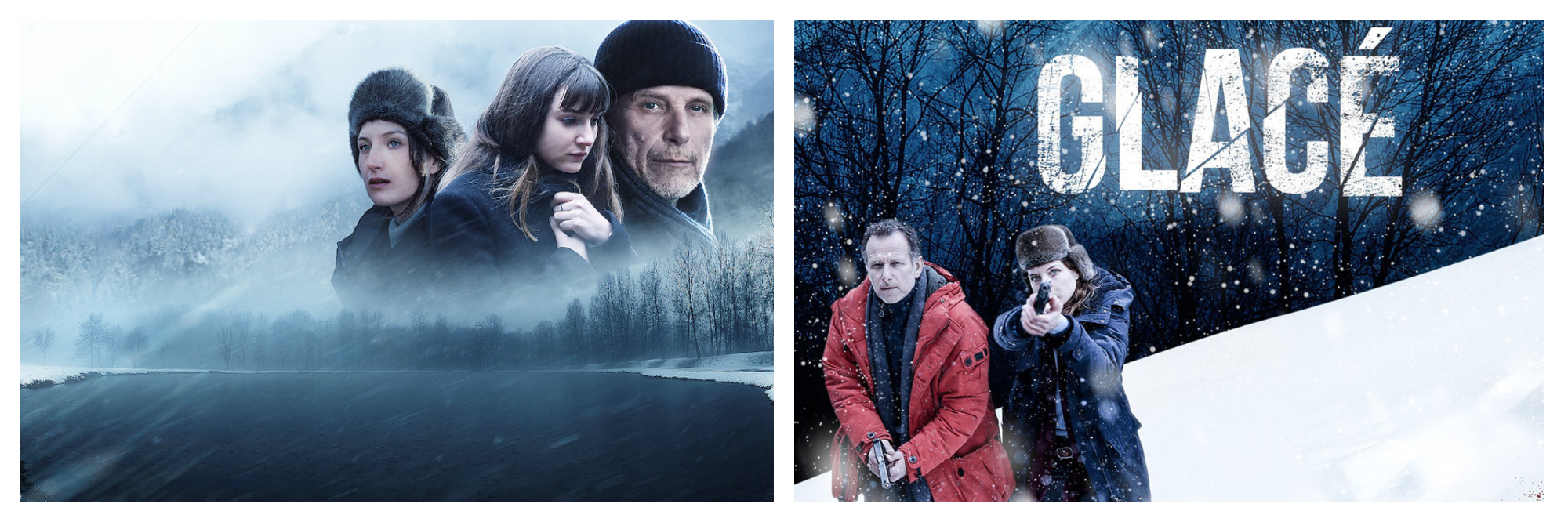 Left, cast of Steven Lasry against backdrop of misty mountains. Right, cast of The Frozen Dead Netflox series with one holding up a gun against a backdrop of snow.