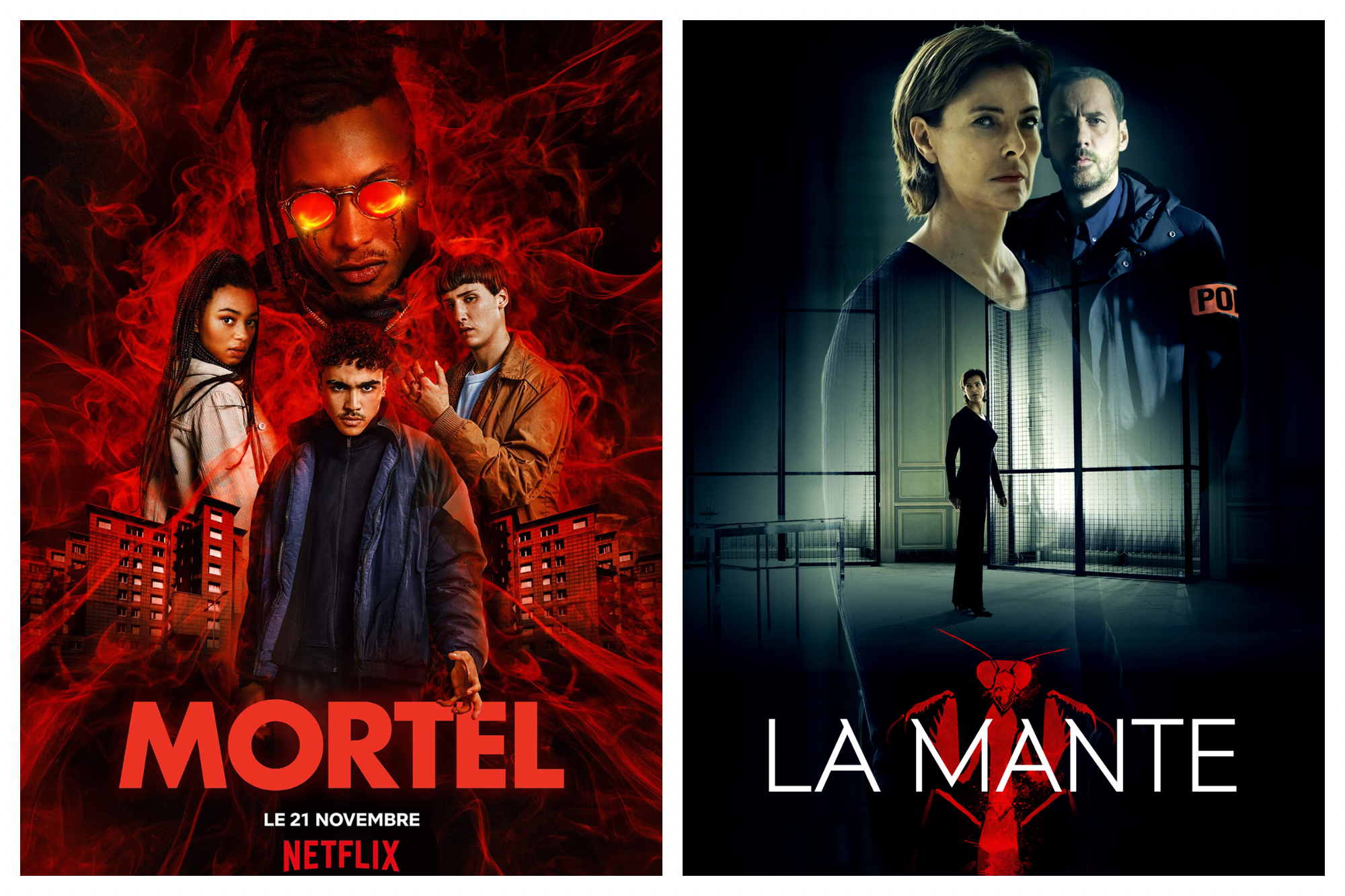 Left, the poster for Mortel, a new French Netflix series with young people fighting for a cause in  the city. Right, the poster for La Mante series, with the main characters in a high-rise.