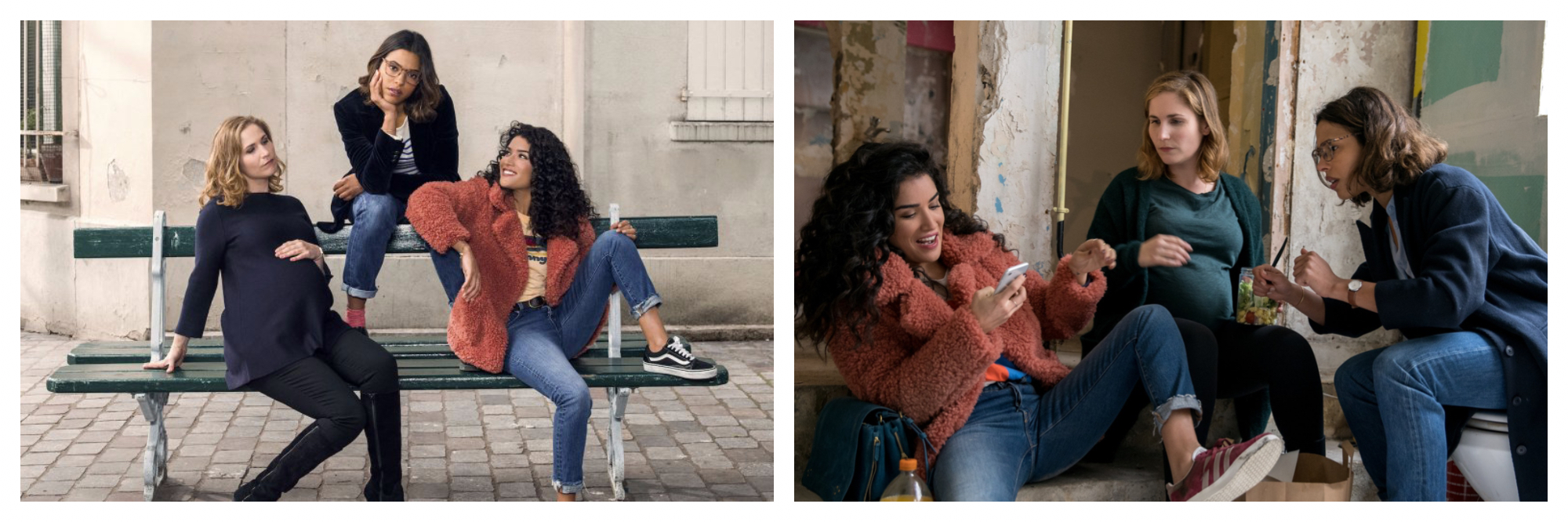 Left, three main characters from French Netflox series The Hook Up Plan, sitting on a bench in Paris. Right, the three main characters talking about a text message one of them has just received.