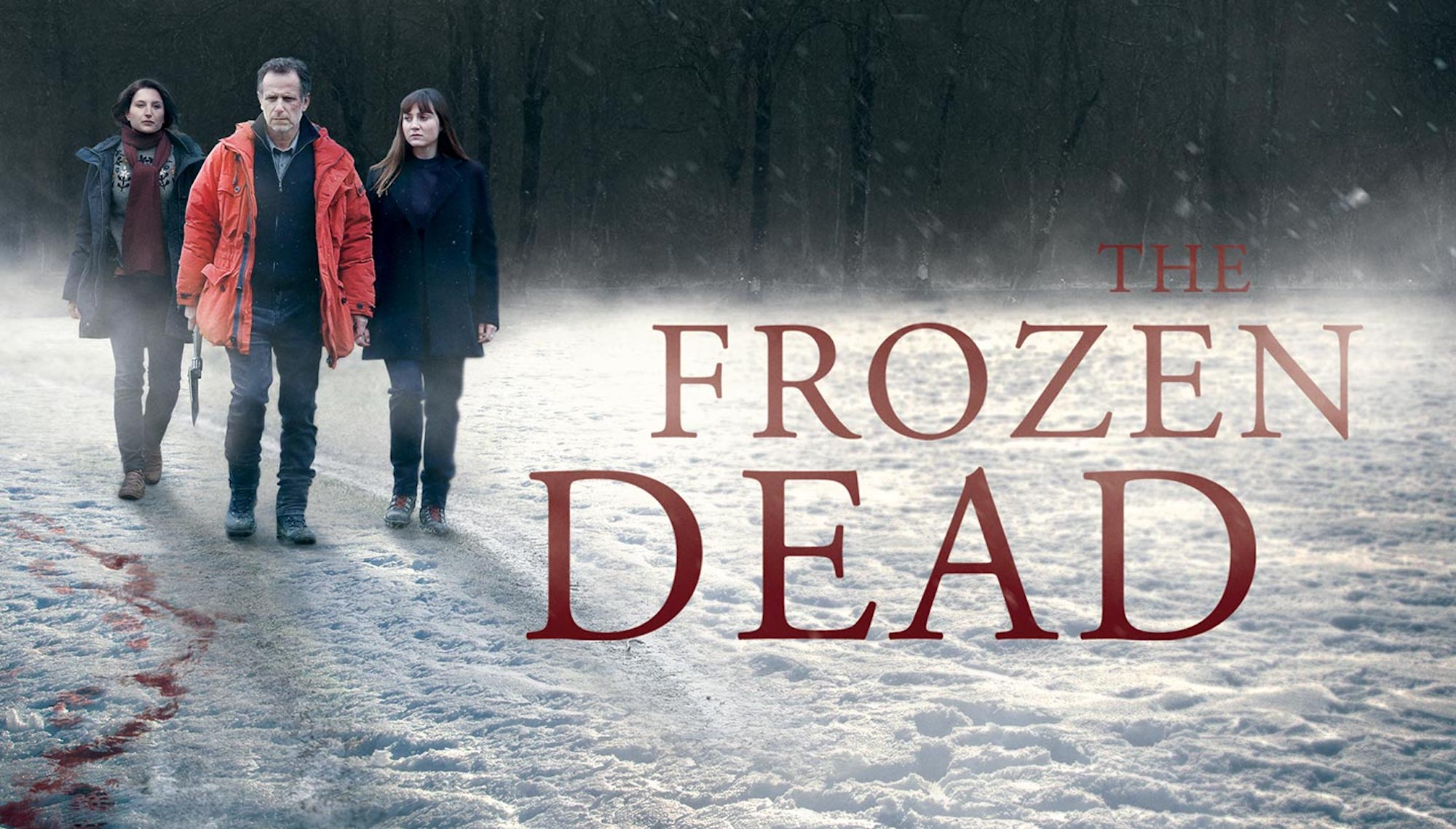 The poster for French Netflix series The Frozen Dead, with the three main characters walking in the snow following a trail of blood.
