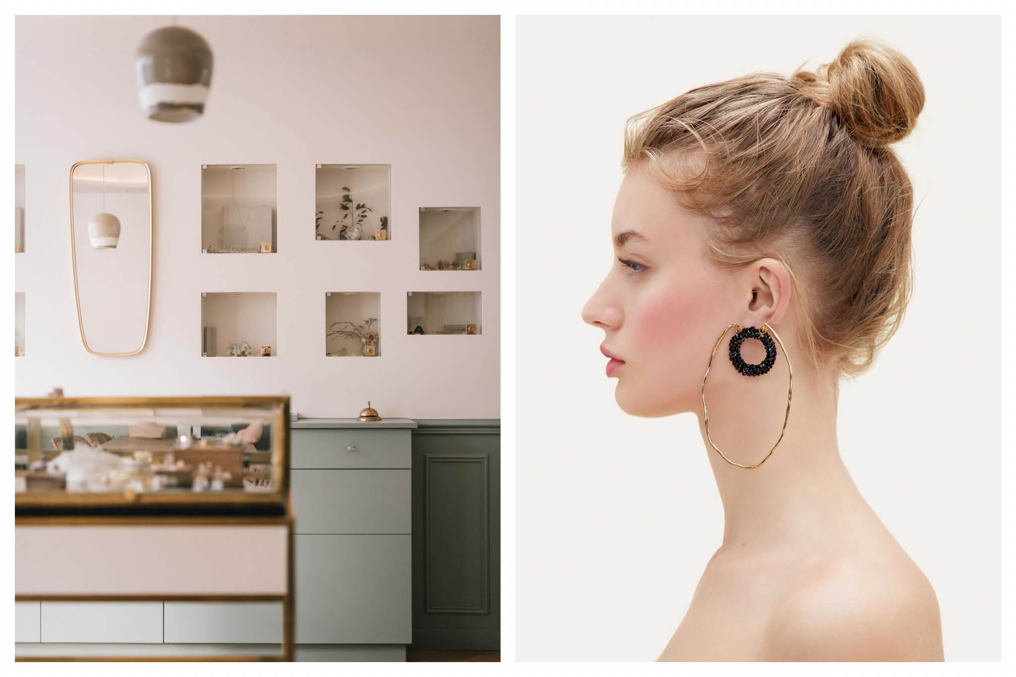 On left: The sophisticated, minimalist space Myrtille Beck creates for its clients. The brand, located in, Paris' ninth arrondissement, is known for its dainty and elegant jewelry. On right: A double-hoop earring by Jacquemus, an up-and-coming designer whose creations are stocked in the Galeries Lafayette on the Champs Elysées in Paris.