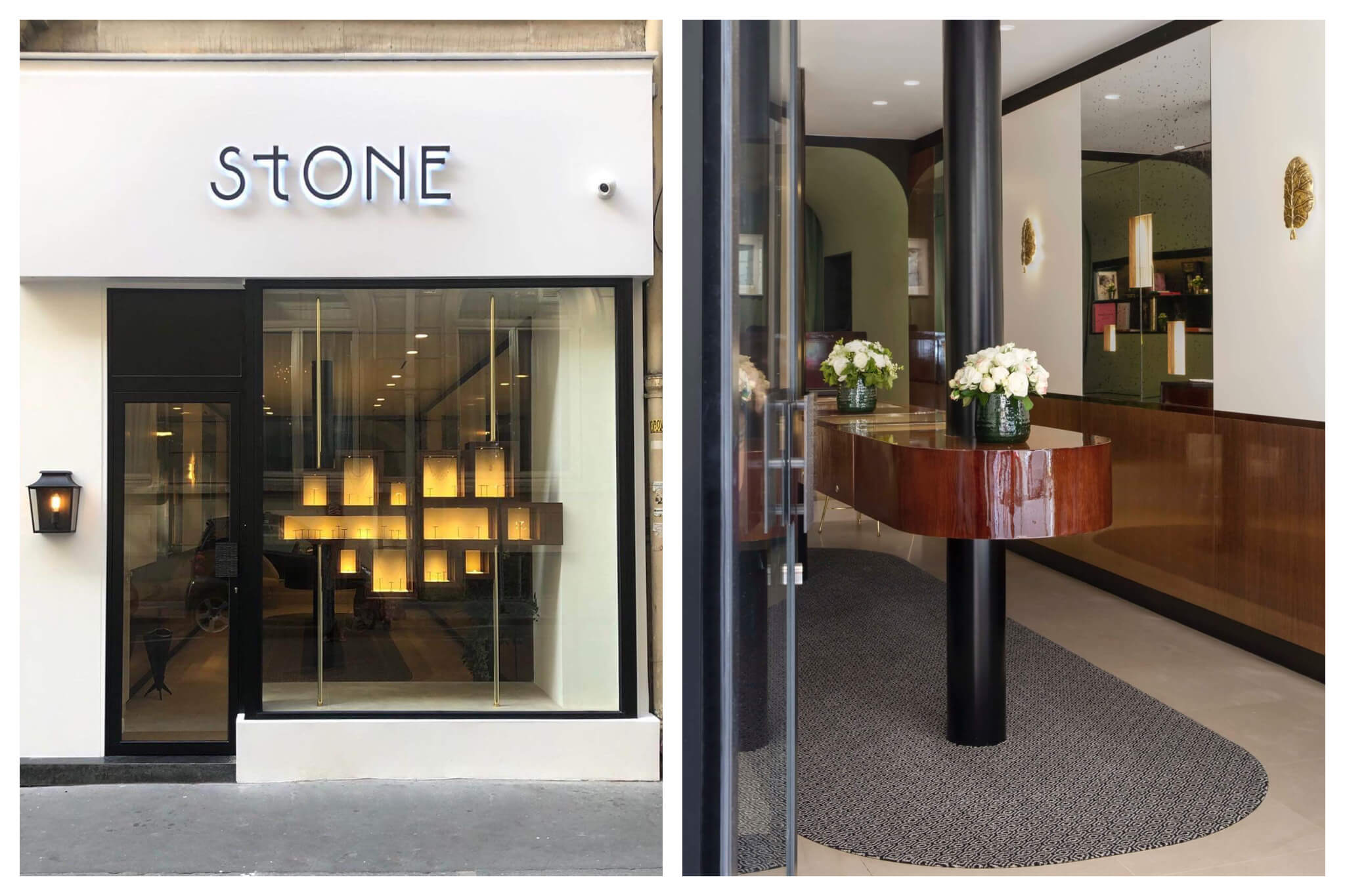On left: Sleek and minimal, the facade of Stone Paris and its abstract, geometric jewelry window displace. On right: The interior of Stone Paris, the shop of Marie Poniatowski, creator of diamond mini-creoles — a Paris girl essential.