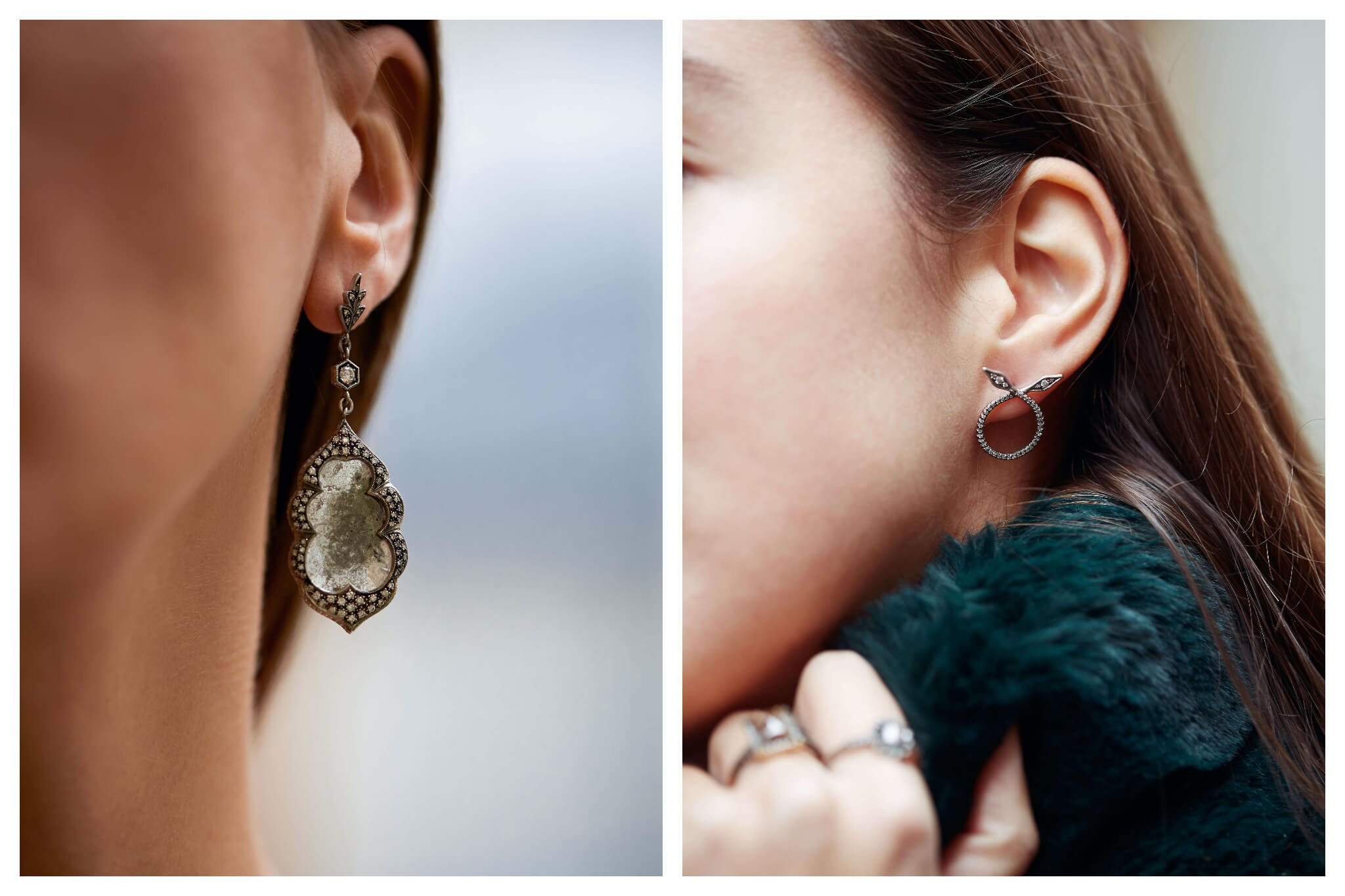 On left: An intricate, metallic drop earring features a textured, ground-glass center surrounded by a diamond detailing. On right: A petit hoop earring with tapered ends that criss-cross, pointing up and out. Both pieces were curated by White Bird, a Parisian jewelry shop that works with independent designers to create international collections.