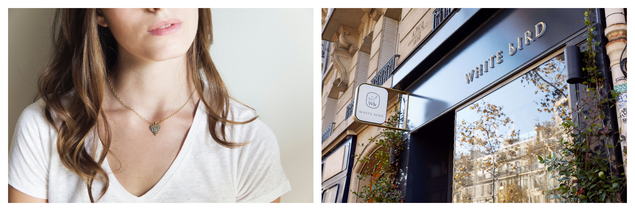 On left: A woman wears a simple jade-green pendant, strung on a gold chain. The jewelry comes from the internationally-curated collection of White Bird. On right: The White Bird storefront welcomes visitors at one of their three Paris locations, where shoppers can discover pieces created by independent jewelers.