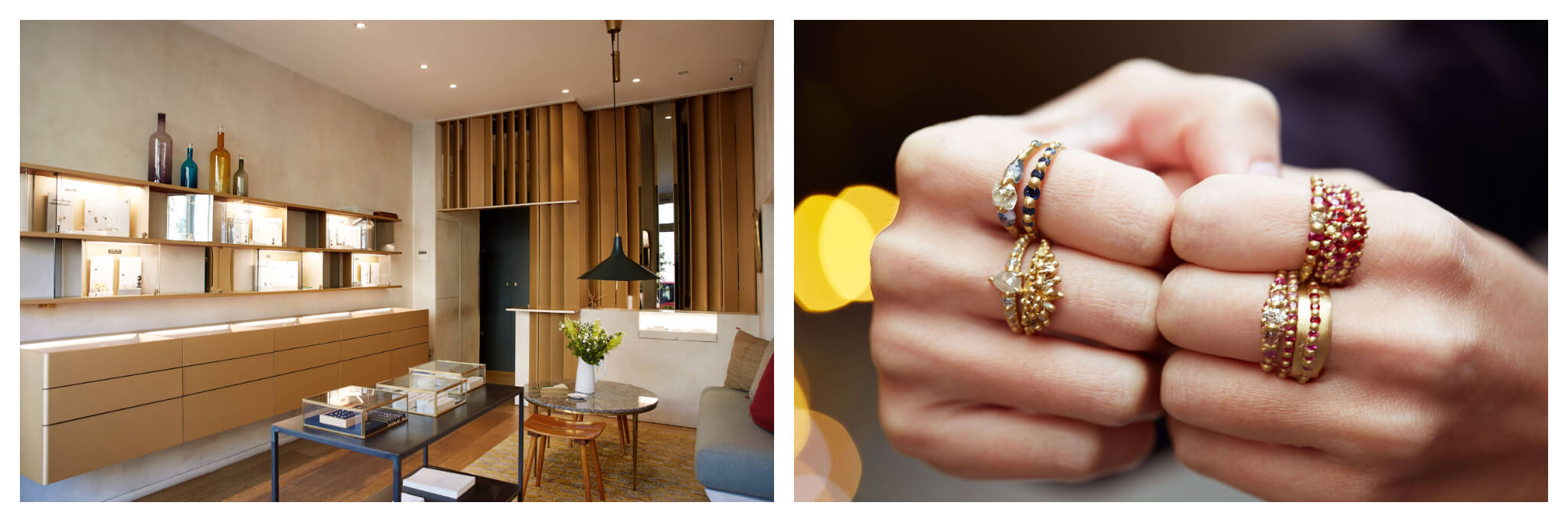 "On left: At White Bird, with three Paris locations, shoppers can peruse the polished displays for an international curation of jewelry by independent designers. On right: Multi-colored and dotted with diamonds, the gold rings designed by Polly Wales put the ""statement"" in statement jewelry. Her collection is available at White Bird, which has three locations in Paris."