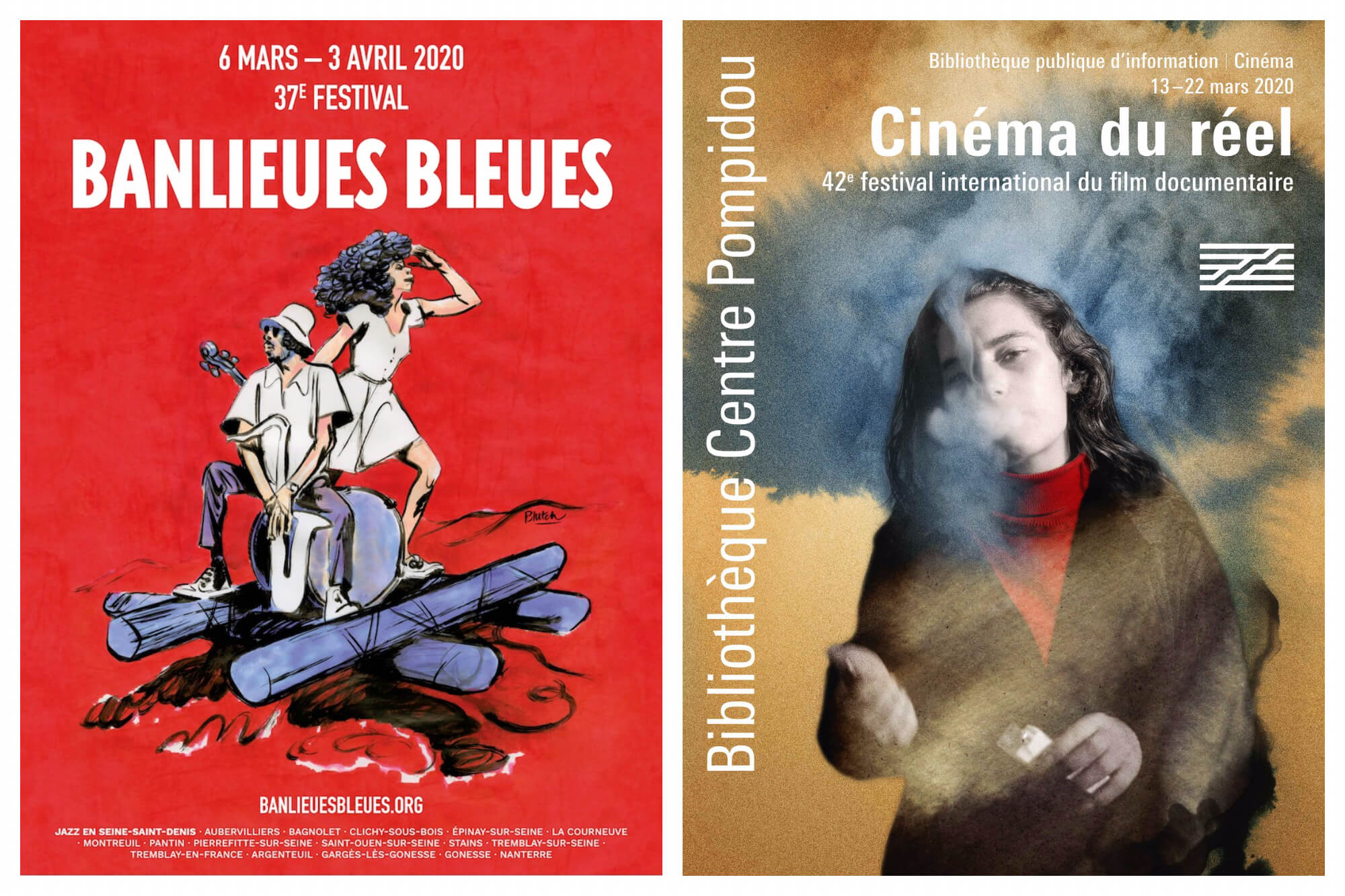 Left, poster with red background and two people exploring in the woods for Banlieues Bleues music festival in Paris in March. Right, poster of a girl smoking for Cinema festival in Paris this month.