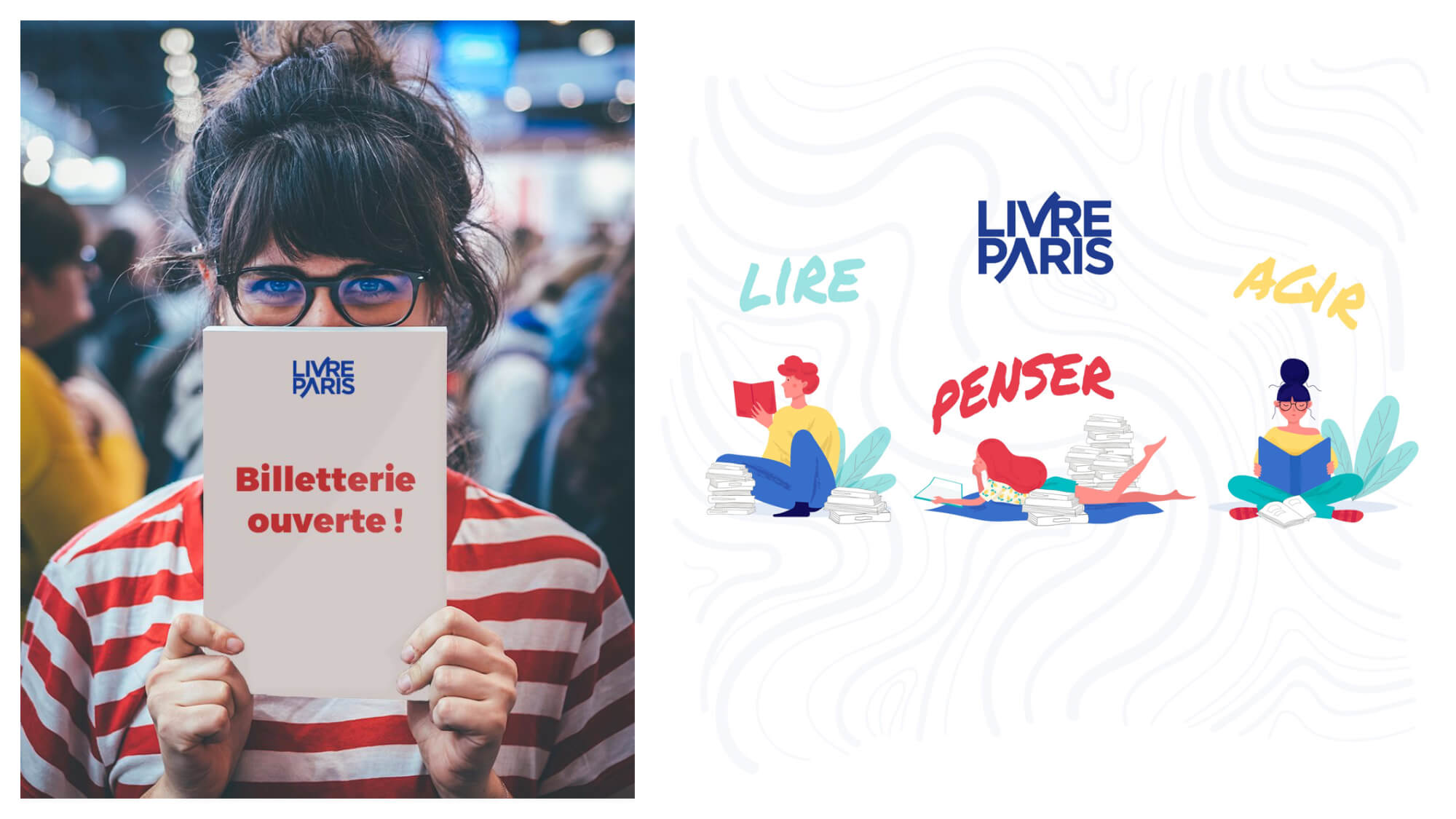 """Left, a girl holding up a book that reads """"tickets now on sale"""" for the Paris book fair in March. Right, a poster advertising the Paris book fair."""