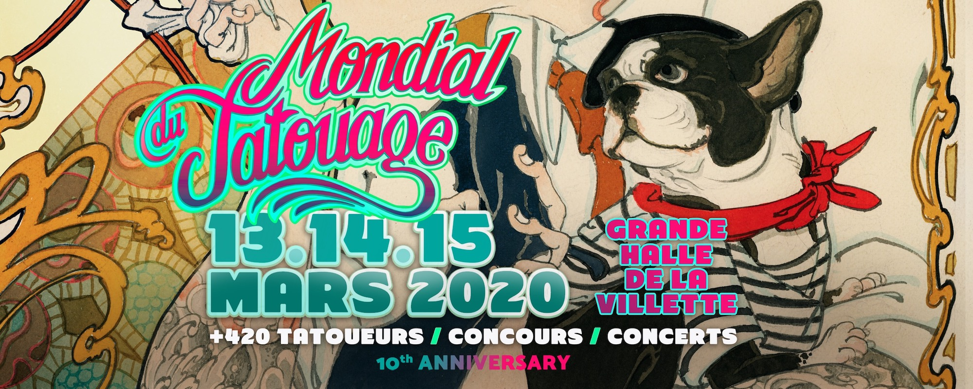 Banner for major tattoo event  in Paris in March.