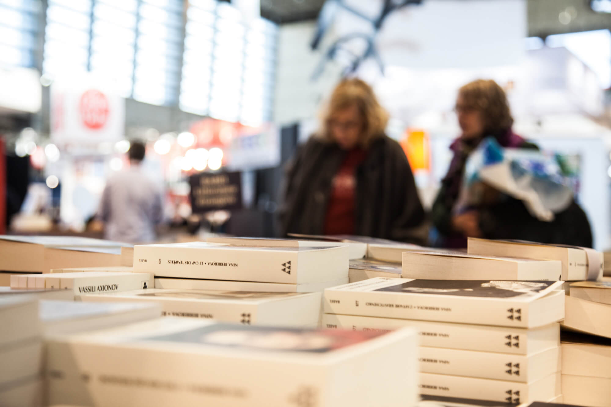A picture of piles of books at the book festival  in Paris in March.