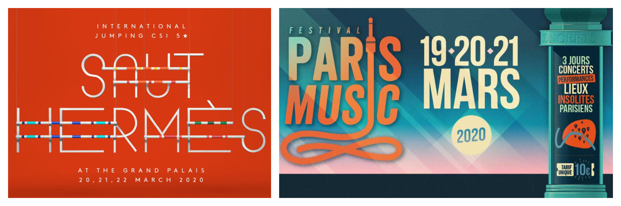 Banner for Saut Hermès hirse jumping event (left) and a poster of Paris music festival this March (right).