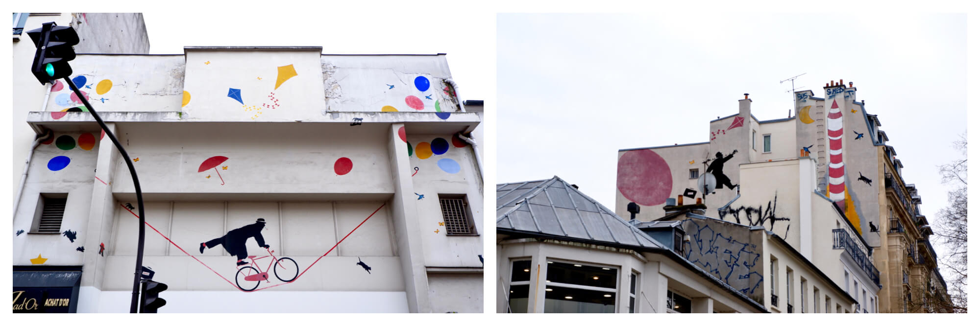 Two images of the same street artist's work. Left: the artwork is a man on a bicycle upon a tight rope with primary coloured umbrella, kites and balloons. There are also some black cats and rabbits. Right: the artwork is a man climbing up the side of the building with a red kite, yellow moon and red rocket, there are also some black cats.