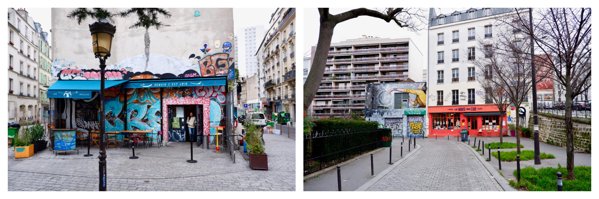 Left: the painted, graffiti covered facade of a bar. There is a lamp post in front and a woman is exiting the bar. Right: A cobblestone road leading to a shop with a red facade and a street art covered facade next door.