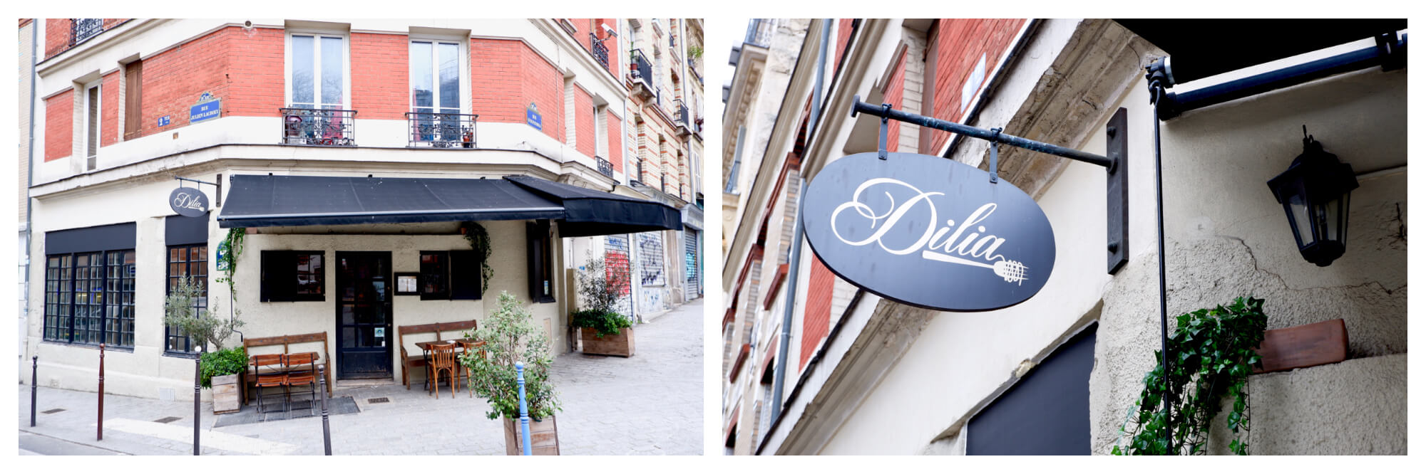 Left: the facade of a restaurant. The window frames and awning are black and there are two wooden tables and chairs on either side of the front door. Right: a close up of the restaurant's sign. The sign is black with the name of the restaurant 'Dilia' written in cursive.