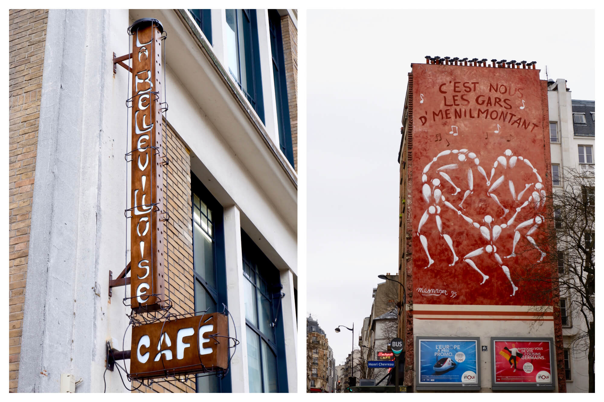 Left: Two brown rusted signs with art nouveau lettering on the outside of a building. The first has the name of the cafe 'La Bellevilloise'. Below is a sign with the word 'Cafe'. Right: A large street art piece on the side of a building. The entire wall is painted red, there are five white figures dancing in a circle, musical notes, and the words 'C'est nous les gars d'Menilmontant'.