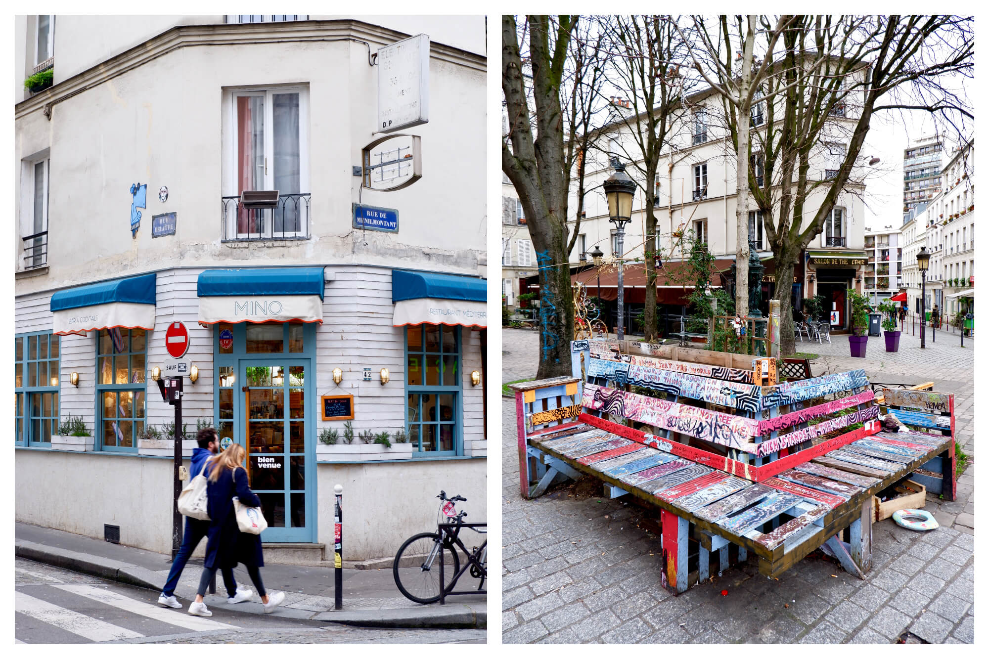 Left: the facade of a restaurant. The facade is wood panelled with blue door and window frames and blue awning. On the awning is the name of the restaurant 'Mino'. A couple are walking past, blurred slightly. Right: A wooden street bench that has been painted in all different colours.