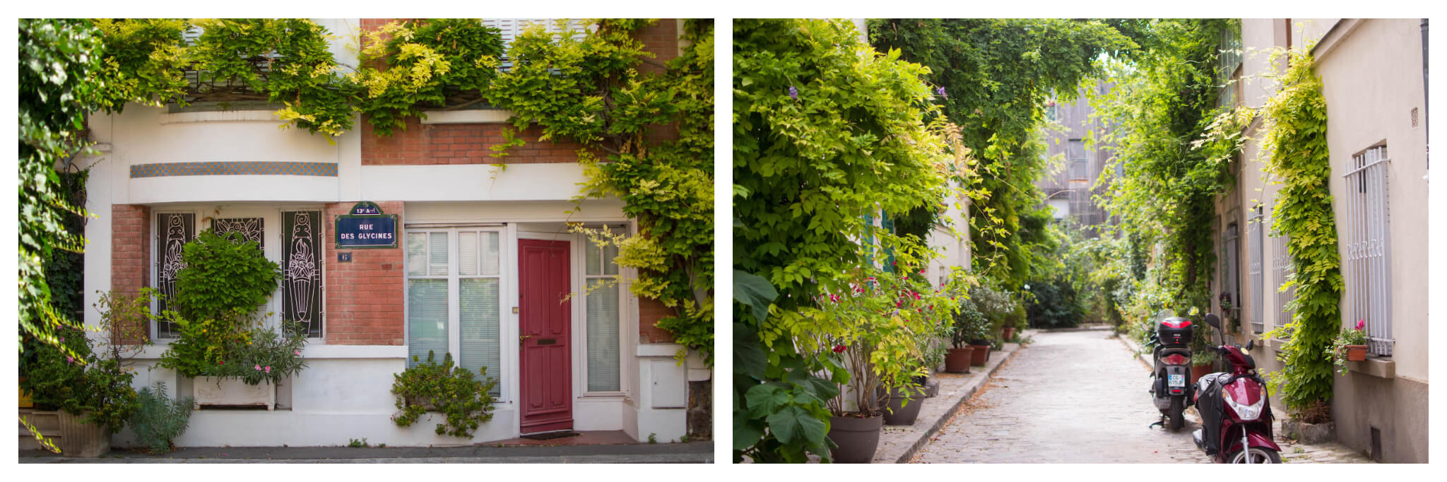 On left: In the Quartier de la Mouzaïa, located in Paris' 19th arrondissement, a quaint red door sits nestled in under lush vines on a sunny summer day. On right: The rue des Thermopyles, in Paris' 14th arrondissement, is quiet on a sunny day, light bouncing off of the abundant greenery.
