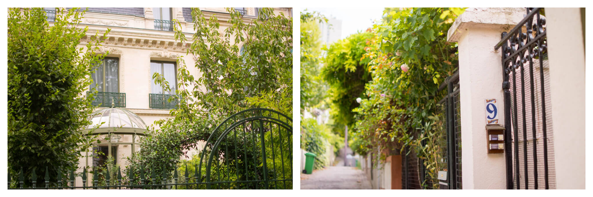 On left: The Cité des Fleurs in the 17th arrondissement of Paris features gated homes with unique architectural and botanical styles. On right: Tiny pink flowers begin to bud in the Quartier de la Mouzaïa in the 19th arrondissement of Paris.