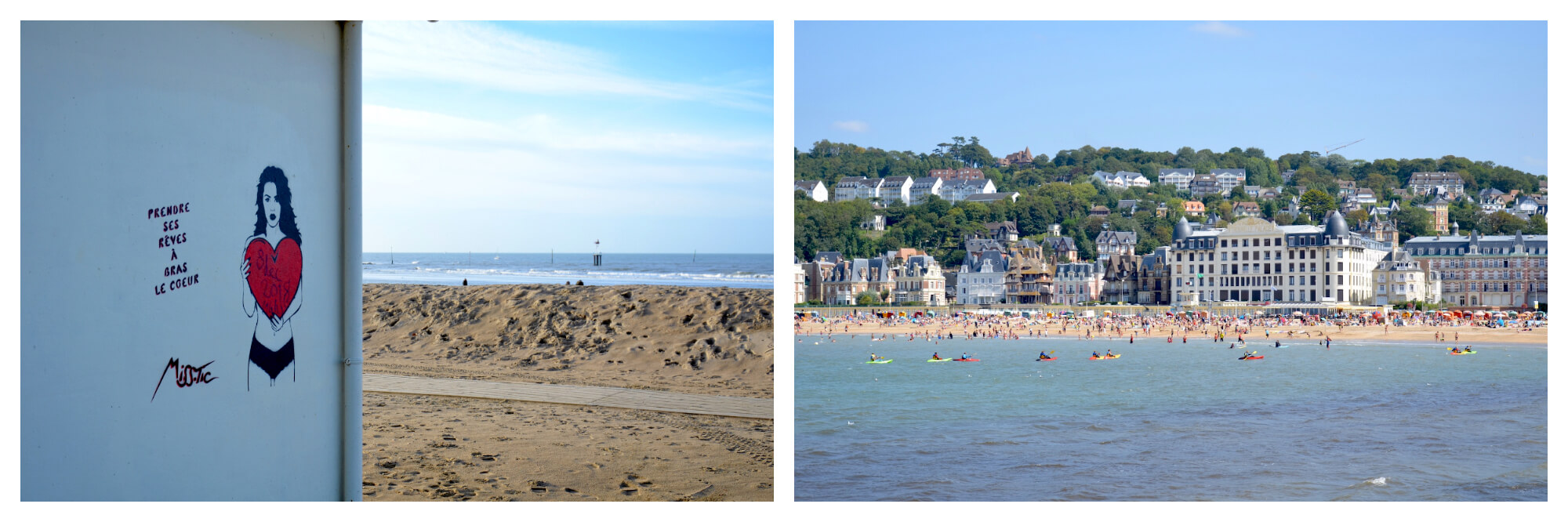 On left: Street art by the renowned Miss.Tic graces the wall of a building on the beach of Trouville-sur-Mer. The artist's works can be found hiding around the town. On right: A view of the beach from the sea in Trouville-sur-Mer, where beachgoers dot the shore on a clear, sunny day.