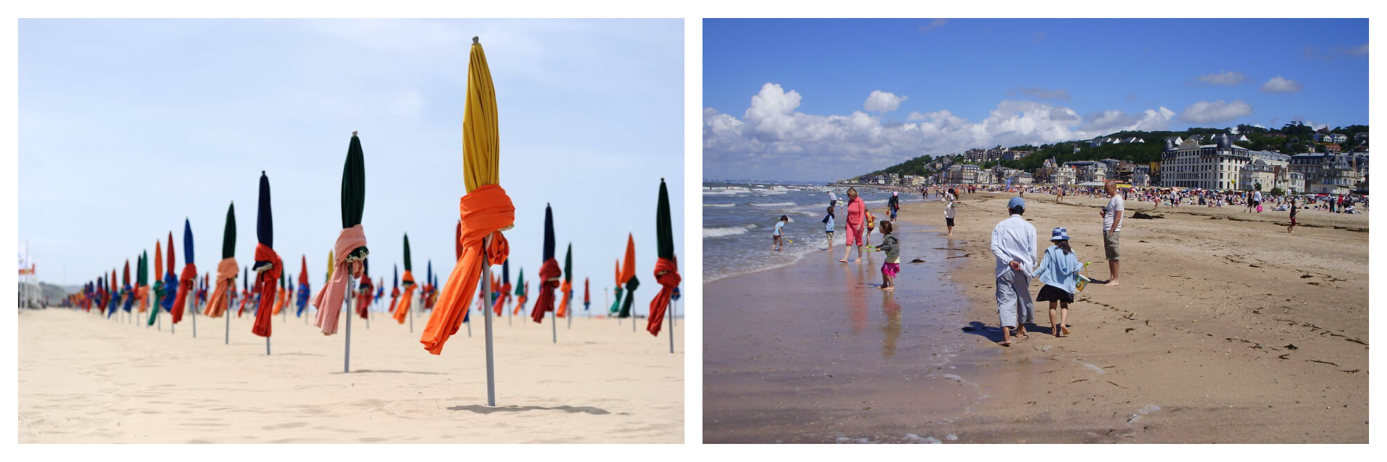 On left: The classic, brightly-hued beach umbrellas stand to attention on the beach of Deauville, awaiting the holiday crowd. On right: Beachgoers enjoy an afternoon stroll in Deauville, dipping in and out of the playful waves.