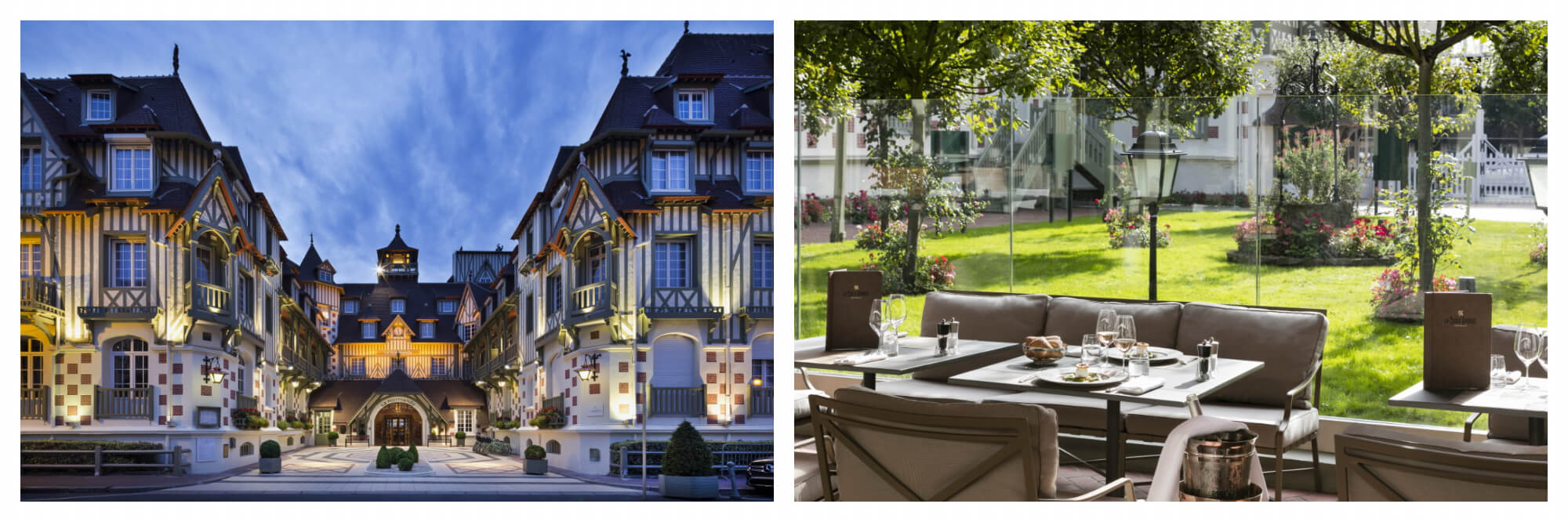 On left: The grand Normand facade of Le Normandy, Deauville's glamorous hotel, has welcomed visitors such as Winston Churchill and Coco Chanel during the course of its history. On right: the Belle Époque restaurant of the storied Deauville hotel, Le Normandy, awaits diners in the sunshine.
