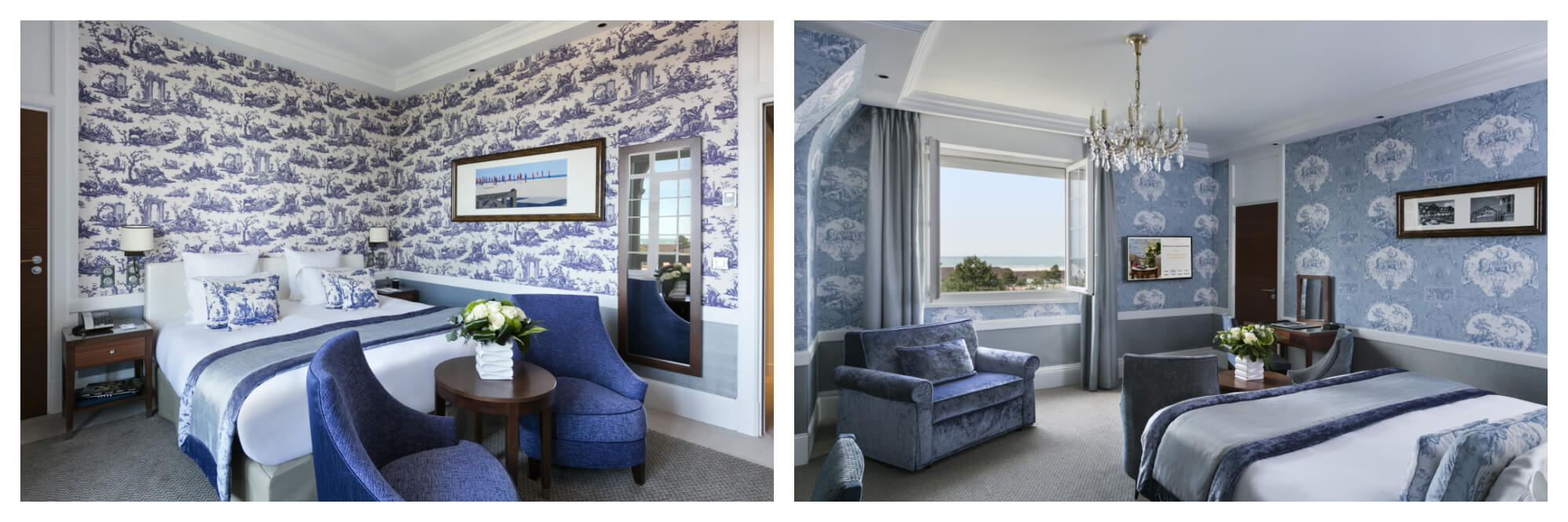 On left: Chic, plush rooms greet guests of Le Normandy, an elegant, glamorous establishment in Deauville which has hosted the likes of Winston Churchill and Coco Chanel. On right: Guests have a view of the sea from the rooms of the Deauvillian establishment Le Normandy, which is equal part elegant with Normand charm.