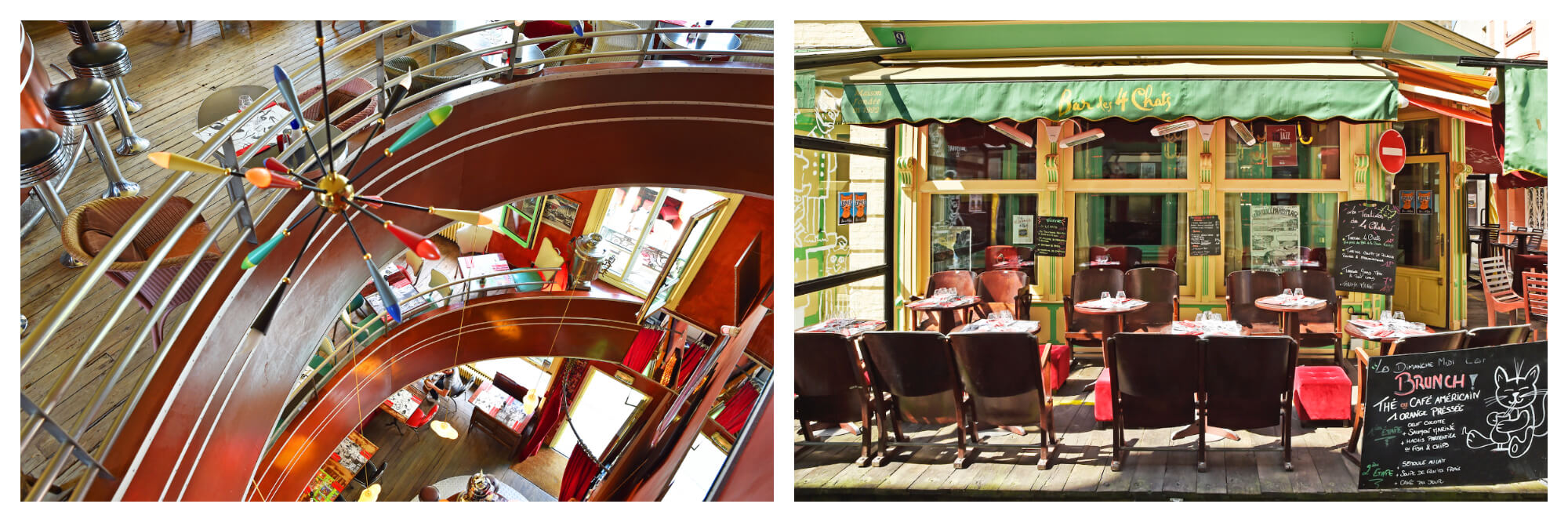 On left: The fun interior of Les Quatre Chats, a quirky establishment in Trouville-sur-Mer, is a bar and restaurant known for burgers and brunch with an eclectic atmosphere. On right: Visitors can enjoy drinks on the terrace of Les Quatre Chats, a quirky bar and restaurant in Trouveille-sur-Mer.