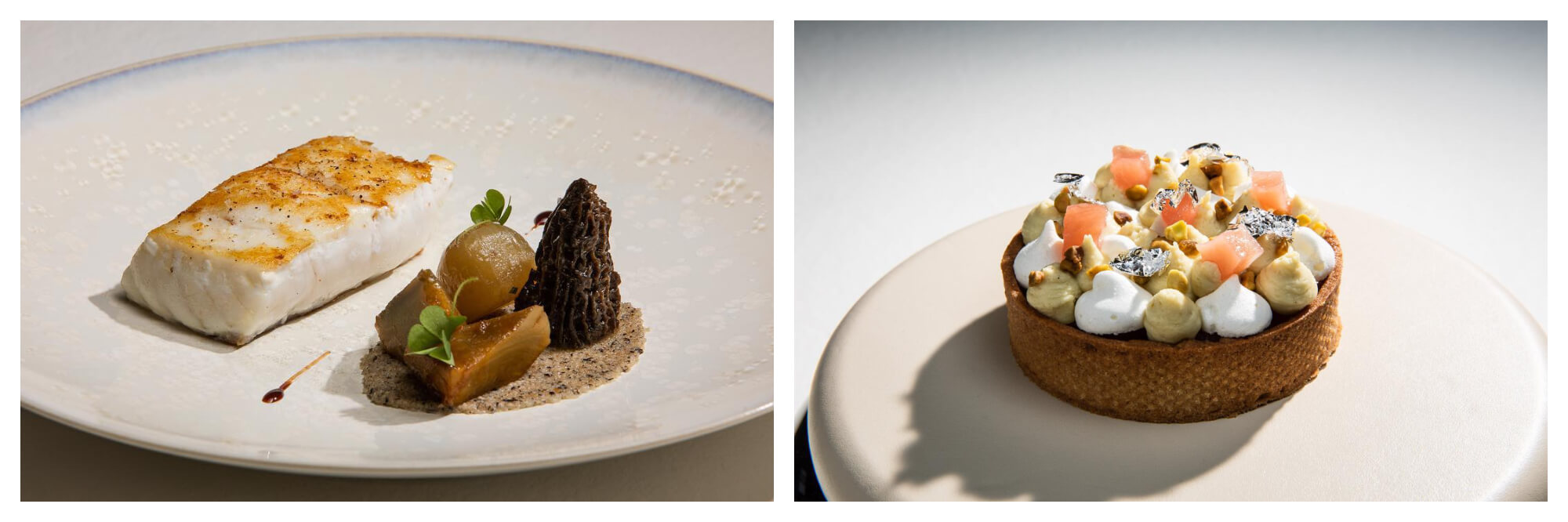 On left: A carefully-plated seafood dish is ready to be served at Maximin Hellio, a one-star Michelin restaurant in Deauville. On right: Dessert is served in the form of a petite fruit and cream tart at the one-star restaurant Maximin Hellio in Deauville.