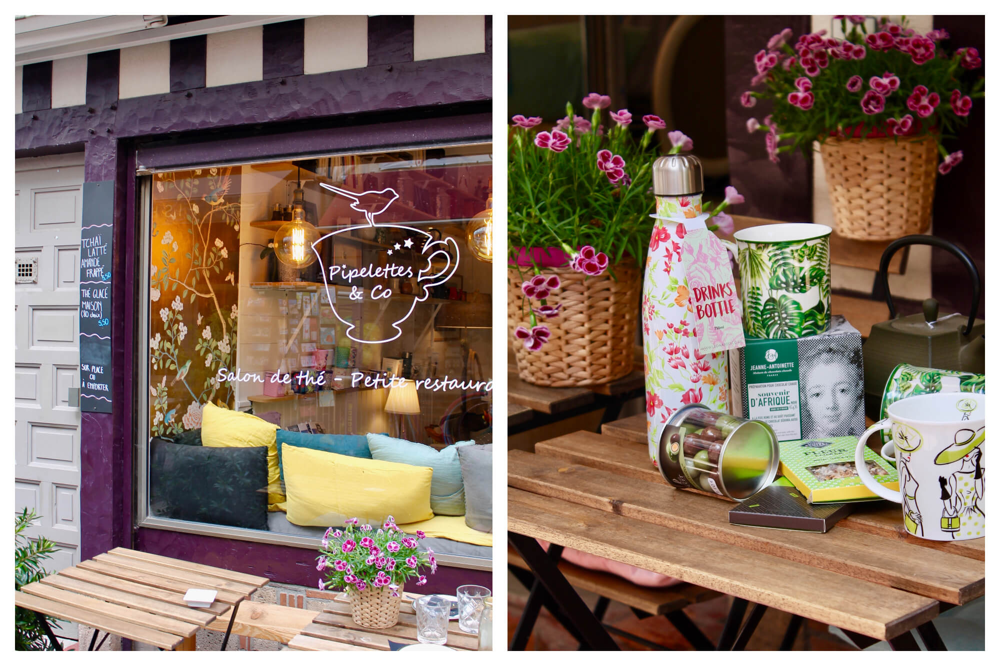 On left: The terrace of the tea salon and shop, Pipelettes & Co, invite passerby to stop in for an afternoon snack in Trouville-sur-Mer. On right: Tea, snacks, and flowers spill onto a table on the terrace of Pipelettes & Co, where visitors can discover different types of teas and sit for a cup in Trouville-sur-Mer.
