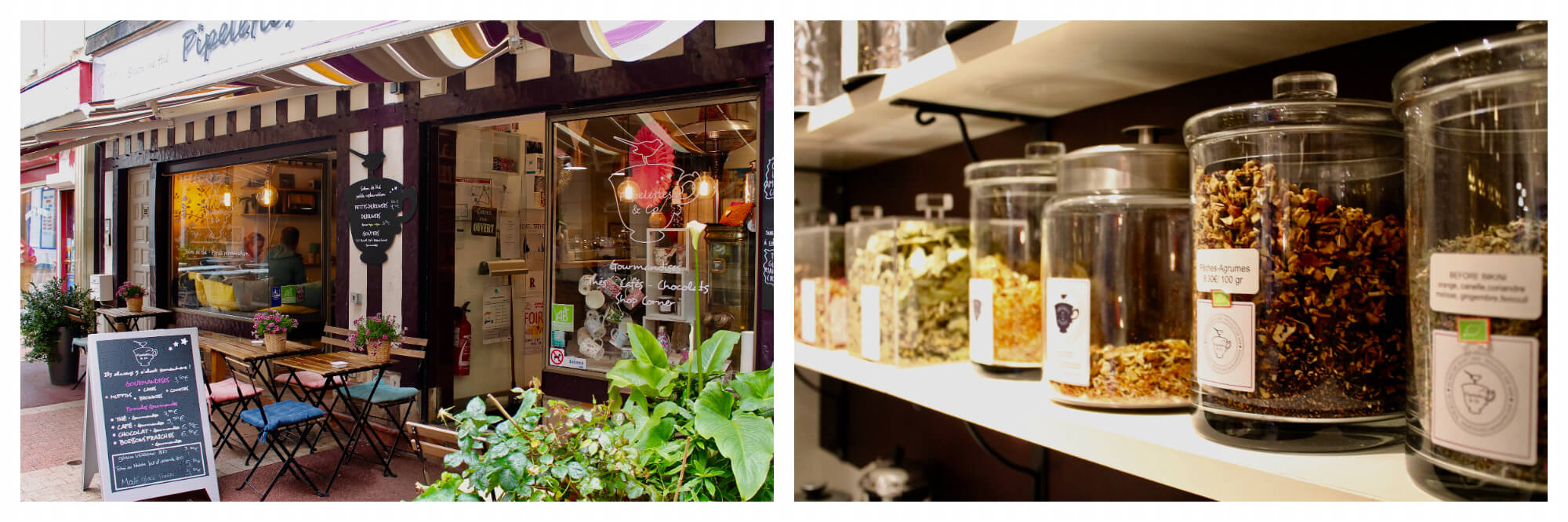 On left: The chalkboard at Pipelettes & Co invite visitors to pop in for tea. Both a salon and shop, it offers a terrace for a relaxing afternoon. On right: Jars of tea leaves line the walls of Pipelettes & Co, a salon and shop in Trouville-sur-Mer.