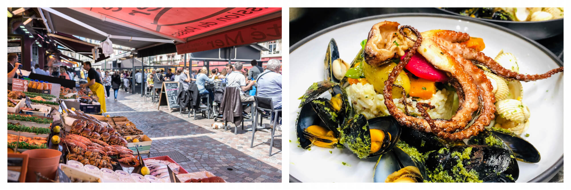 On left: the Halle aux Poissons in Trouville-sur-Mer invites visitors and locals to taste the fresh seafood caught on local beaches. On right: Fresh mussels and seared octopus are plated and ready to be served at La Table du Marché, a restaurant in Trouveille-sur-Mer that emphasizes local ingredients.