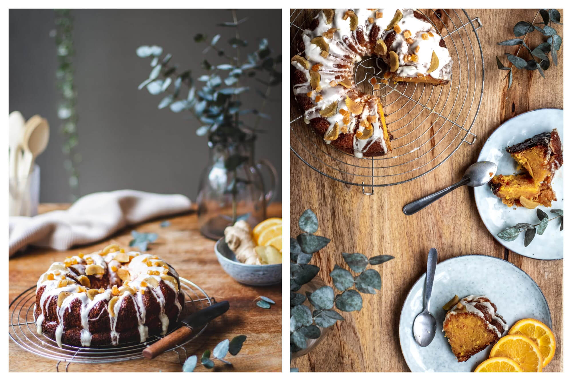 On left: An iced bundt cake, accompanied by fresh orange slices and ginger on the side, waits to be served at Villa Gypsy, a design shop and café in Trouville-sur-Mer. On right: Slices of bundt cake, garnished with orange slices and a creamy icing, reveal the rich crumb at Villa Gypsy, a café with a tranquil terrace in Trouville-sur-Mer.