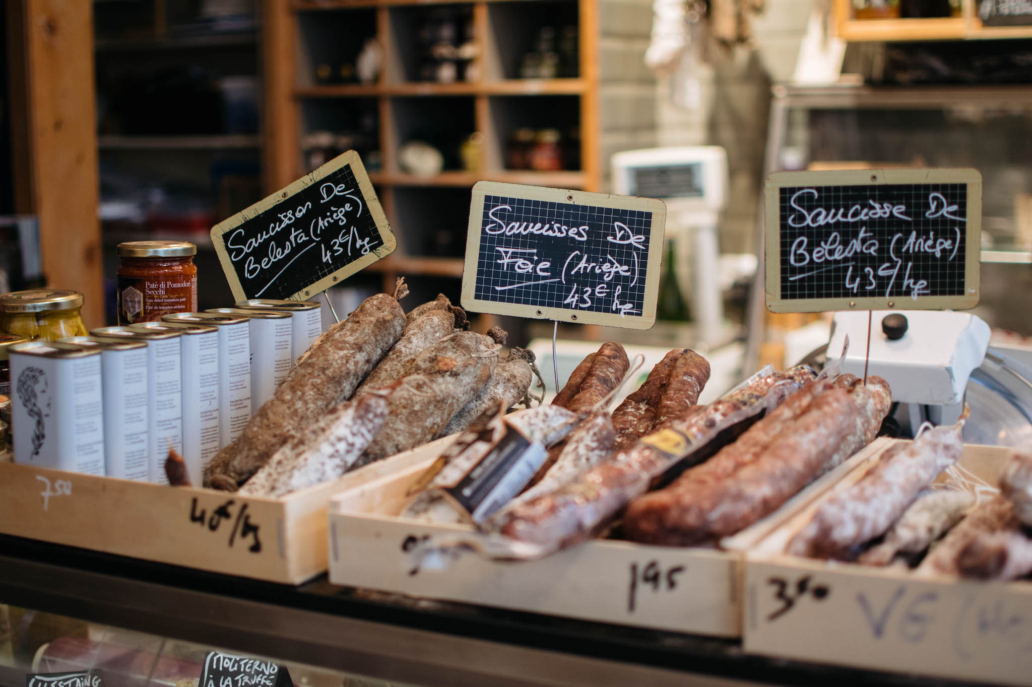 A selection of French hand-made saucisson sausage in a shop in Paris.