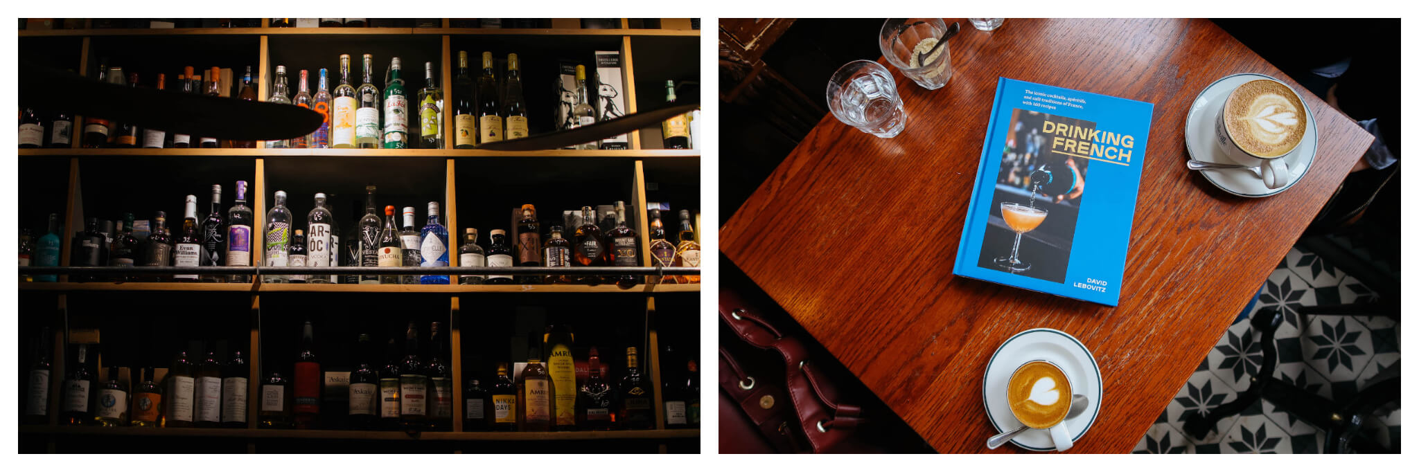 Left, shelves stacked with batch-made liquors and spirits in Paris. Right, David Lebovitz's new book 'Drinking French'.